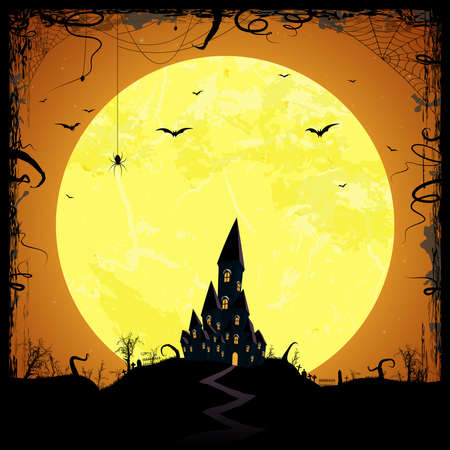 dark castle in front of full moon with scary illustrated elements for Halloween background layouts
