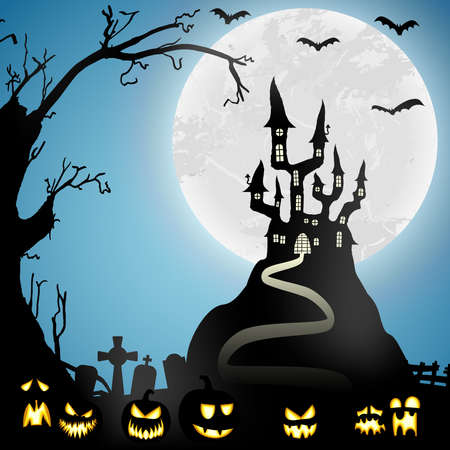 spooky halloween castle with grave stones in front of an white full moon with bats and some scary pumpkins