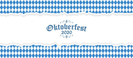 Oktoberfest background with ripped open paper having blue-white checkered pattern and text Oktoberfest 2020 Stock Illustratie