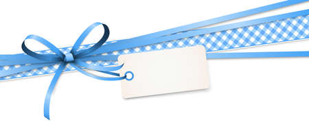vector illustration of blue colored ribbon bow and gift band isolated on white background Ilustração