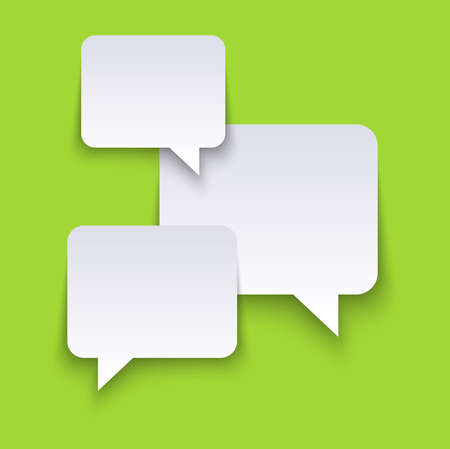 vector illustration of white speech bubbles with shadows on green colored background and free space for text Illustration