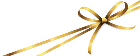 vector illustration of golden colored ribbon bow and gift band isolated on white background