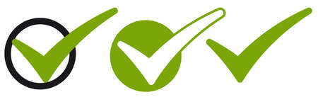 collection of different green success check marks