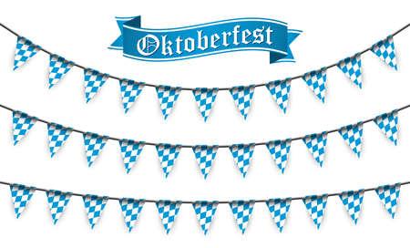 Oktoberfest 2020 garlands having blue-white checkered pattern and text Oktoberfest