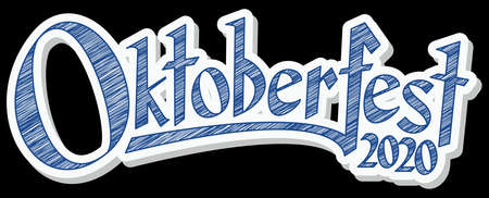 blue and white header with scribble pattern and text Oktoberfest 2020