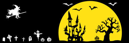 dark castle and witch in front of full moon with scary illustrated elements for Halloween background layouts