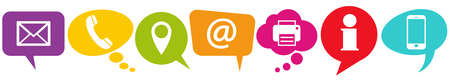 illustration of colored speech bubbles in a row with communication icons