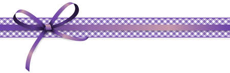 vector illustration of purple colored ribbon bow and gift band isolated on white background
