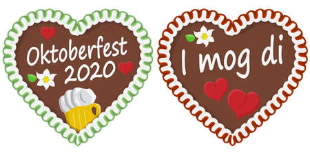 illustrated gingerbread heart with text in german for Oktoberfest time 2020 2021 Illustration