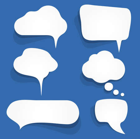 vector illustration of six white speech bubbles with shadows on colored background and free space for text