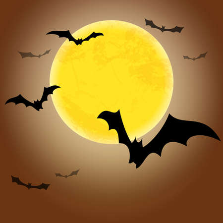 spooky dark bats in front of a full moon with free text space for Halloween background layouts