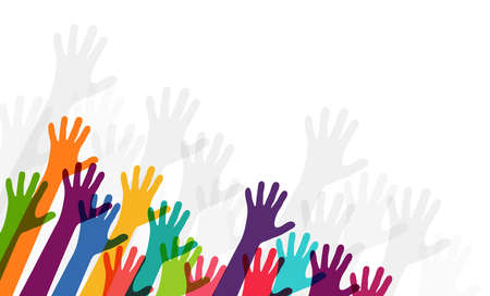 vector illustration of many different colored people stretch their hands up symbolizing cooperation or diversity friendship Illustration