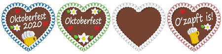 four illustrated gingerbread hearts with text in german for Oktoberfest 2020 2021 time Illustration