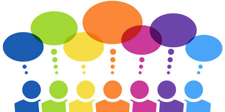 vector illustration of seven different colored team people with thought bubbles over their head and free space for text