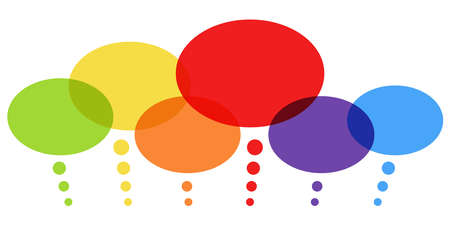 vector illustration of six different colored thought bubbles and free space for text Illustration