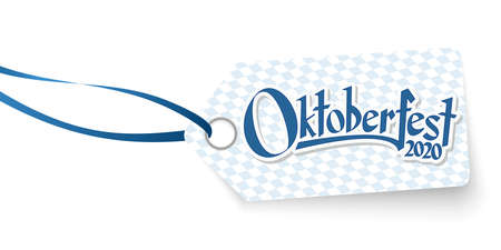 hang tag with blue white checkered pattern and text welcome to Oktoberfest 2020 (in german)
