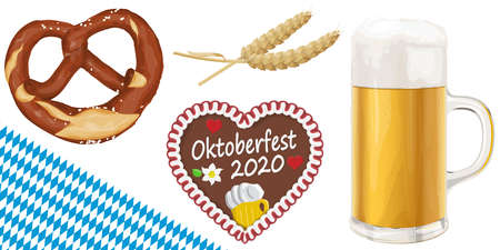 collection of typical illustrated Oktoberfest objects, beer, bretzel, wheat and gingerbread heart for beer garden time 2020