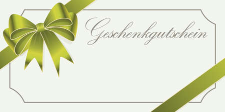 vector illustration of gift voucher (text in german) with green colored satin band and ribbon bow and free space for text