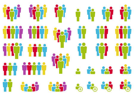 vector illustration showing a collection of many different icons with typical teamwork or leading business situations