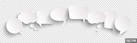 illustration of eight speech bubbles with shadow looking like stickers with transparency in vector file Illustration