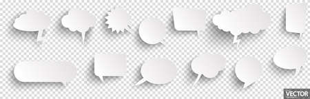 illustration of speech bubbles with shadow looking like stickers with transparency in vector file Illustration