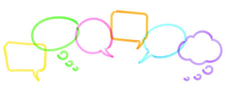 illustration of colored speech bubbles in a row drawn with highlighter symbolizing communication