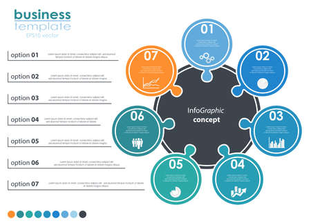 vector file for business info graphic template designs, team work concepts and data information with seven options Illustration