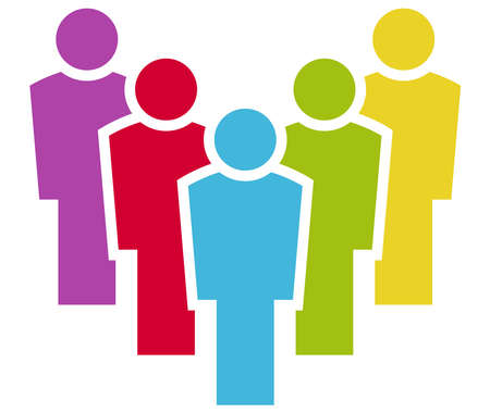 vector file for business info graphic designs, team work concept with five colored businessmen in a row