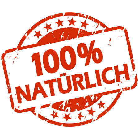 EPS 10 vector with round red colored grunge stamp with banner and text 100% natural (in german) Illustration