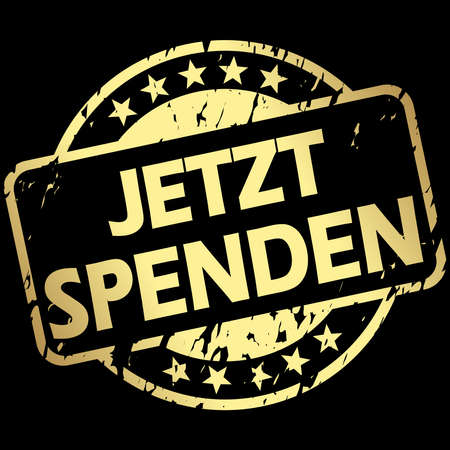 vector with round golden colored grunge stamp with banner and text donate now (in german)