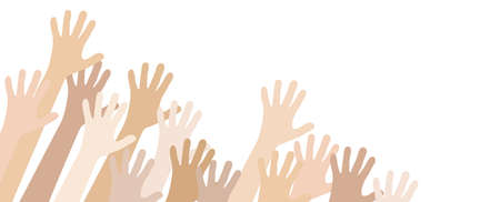 vector illustration of many different skin colored people stretch their hands up symbolizing cooperation or diversity friendship