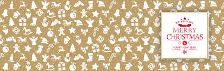 panorama background banner with different christmas icons for winter time concepts with greetings for christmas and New Year with white colored background