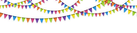 vector illustration of seamless colored garlands on white background for sylvester party or carnival template usage Illustration