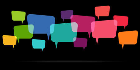 illustration of colored speech bubbles in a row with space for text symbolizing communication process