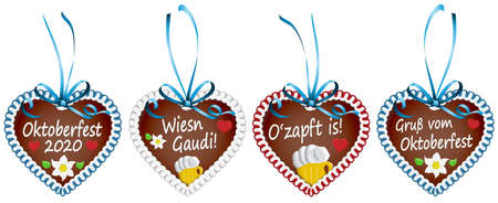 four illustrated gingerbread hearts with blue ribbon bow and text in german for Oktoberfest 2020 time Illustration