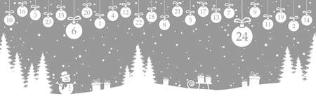 hanging christmas baubles colored white with numbers 1 to 24 showing advent calendar for xmas and winter time concepts, gray nature background with fir trees and other christmas symbols