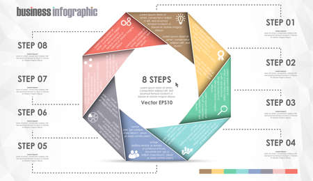vector file for business info graphic template designs, team work concepts and data information with eight options Illustration
