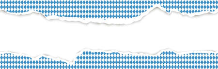 upper and lower part of ripped open blue white checkered paper for Oktoberfest Ilustração