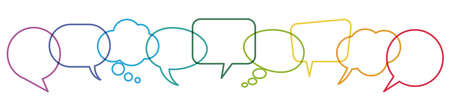 illustration of outlined colored speech bubbles in a row with space for text symbolizing communication process with white background Illustration