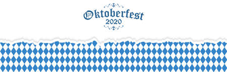 Oktoberfest background with ripped open paper having blue-white checkered pattern and text Oktoberfest 2020 Illustration