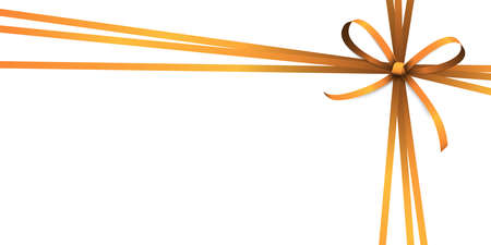 vector illustration of orange colored ribbon bow and gift band isolated on white background
