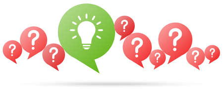speech bubbles with red question marks and with green light bulb symbolizing idea or solution