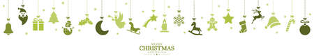different abstract hanging icons colored green for christmas and winter time concepts with Christmas and New Year greetings 矢量图像