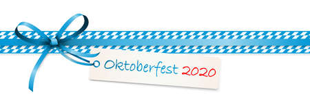 vector illustration of blue colored ribbon bow with hang tag and text Oktoberfest 2020 isolated on white background for German Oktoberfest time