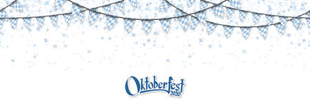 Oktoberfest 2020 garlands having blue-white checkered pattern and blue confetti