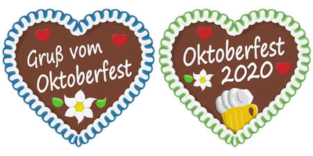 illustrated gingerbread heart with text in german for Oktoberfest time 2020 2021 矢量图像