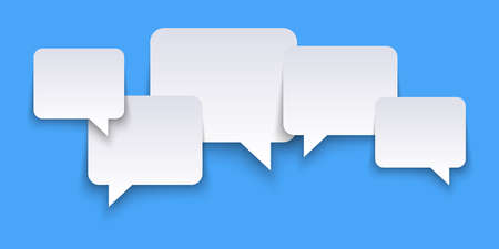 EPS vector illustration of white speech bubbles with shadows on blue colored background and free space for text