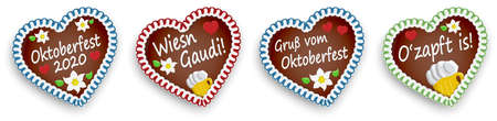 four illustrated gingerbread hearts with text in german for Oktoberfest 2020 2021 time 矢量图像