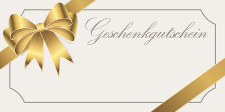 EPS 10 vector illustration of gift voucher (text in german) with golden colored satin band and ribbon bow and free space for text