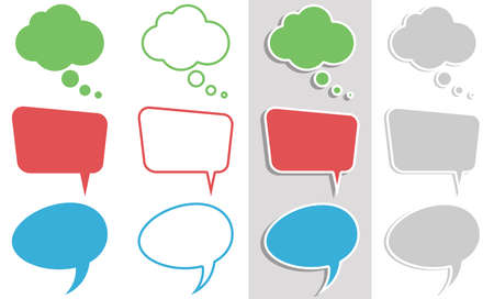 vector illustration collection of three different speech bubbles in different looks